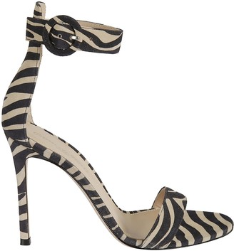 Gianvito Rossi Zebra Print Side Buckled Sandals