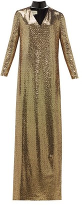 Gucci Leather-choker Chainmail Maxi Dress - Womens - Gold