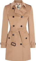 Burberry The Kensington Mid Wool And Cashmere-blend Felt Trench Coat - Camel