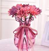 XHOPOS HOME-Fake flowers XHOPOS HOME Artificial Flowers Living Room Bedroom Retro Style Chrysanthemum Glass Vase Living Room Pink Decorative Fake Flowers For Home Party and Garden Decor