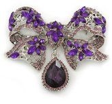 Avalaya Luxurious CZ Purple/ 'Bow' Charm Brooch In Rhodium Plated Metal - 70mm Width