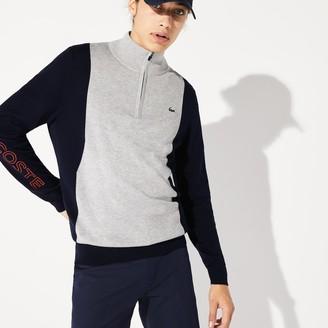Lacoste Men's SPORT Breathable Knit Zip Collar Golf Sweater