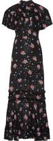 Anna Sui Ruffle-trimmed Printed Fil Coupé Silk-blend Maxi Dress - US10
