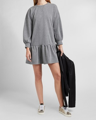 Express Long Sleeve Flounce Sweatshirt Dress