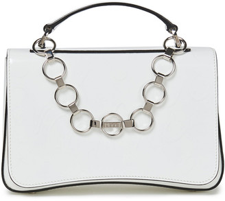 Emilio Pucci Chain-trimmed Embossed Glossed-leather Shoulder Bag