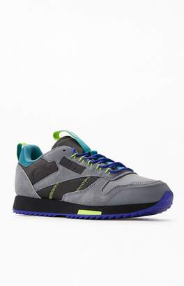 Reebok Grey & Purple CL Leather Ripple Trail Shoes