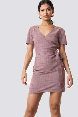 NA-KD Knot Detail Checkered Dress Red