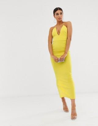 Asos Design DESIGN T Bar back detail maxi dress-Yellow