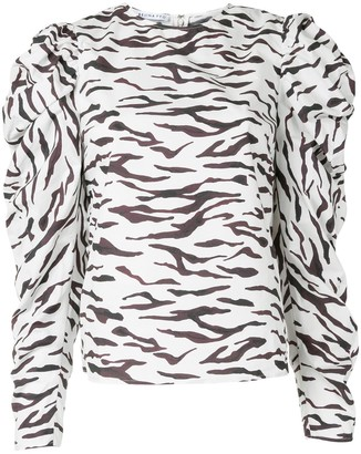 REJINA PYO snow tiger-print Juliet-sleeved blouse