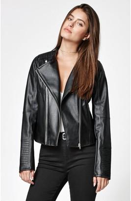 Members Only Women's Faux Leather Two Zipper Racer Jacket