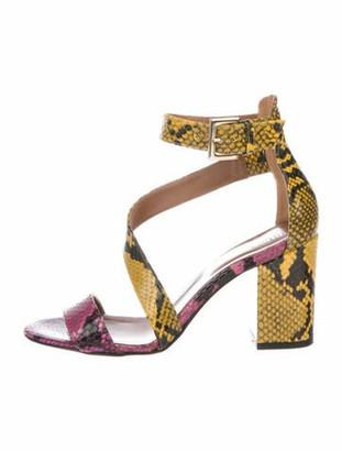 Paris Texas Leather Animal Print Sandals Yellow