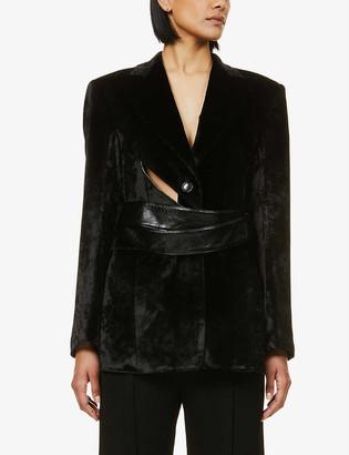 AKIRA NAKA Peter cut-out belted velvet blazer