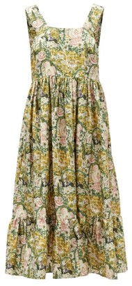 Shrimps Sylvia Square-neck Floral Silk-faille Dress - Green Print