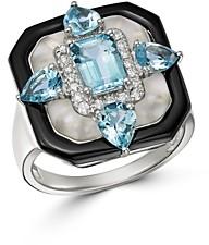 Bloomingdale's Multi-Gemstone Art Deco Ring in 18K White Gold - 100% Exclusive