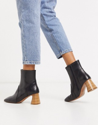 Depp stacked heeled ankle boots in black leather