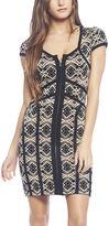 Arden B Piped Geometric Print Knit Dress