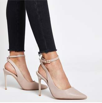 River Island Wide Fit Ankle Strap Court Shoe - Light Pink