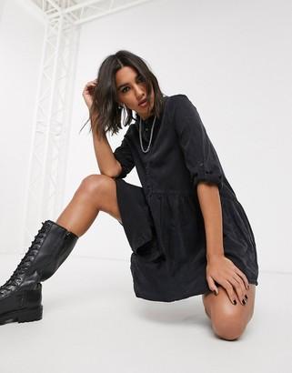 Only denim smock dress in black
