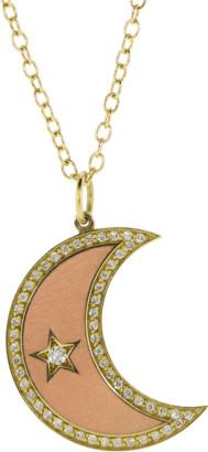Andrea Fohrman Large Enamel Crescent Diamond Moon Phase Necklace