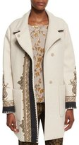 Etro Embroidered Long Wool-Blend Coat, Ivory