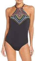 Laundry by Shelli Segal Women's Embroidered One-Piece Swimsuit