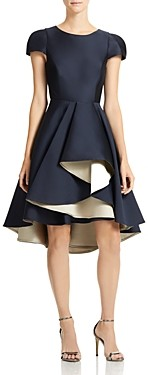 Halston Dramatic-Skirt High/Low Dress