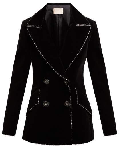 Christopher Kane Double Breasted Bead Embellished Velvet Blazer - Womens - Black