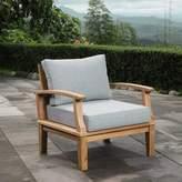 Beachcrest Home Elaina Teak Patio Chair with Cushions Color: Gray
