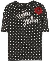 Dolce & Gabbana Embellished printed silk-blend top