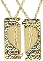 JCPenney FINE JEWELRY Personalized 14K Gold Over Silver Couple's Name Puzzle Heart Pendant Necklaces
