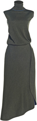 Victoria Beckham Wool-Blend Wrap-Effect Midi Dress