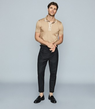 Reiss Aaron - Press Stud Cotton Polo Shirt in Camel