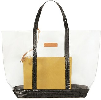 Vanessa Bruno Medium Transparent Canvas and Sequins Cabas Tote Bag