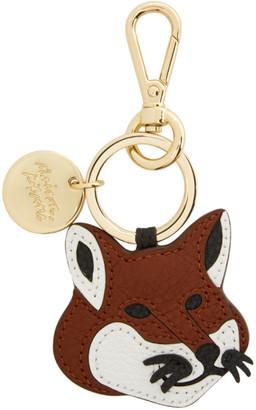 MAISON KITSUNÉ Brown Leather Fox Head Keyring