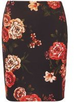 Dorothy Perkins Womens Multi Coloured Floral Print Scuba Mini Skirt- Red