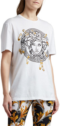 Versace Medusa Safety-Pin Embroidered T-Shirt