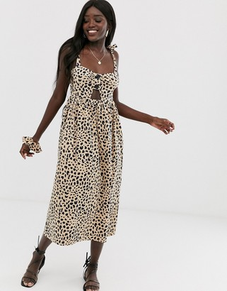 ASOS DESIGN leopard print midi cut out button front sundress with matching scrunchie