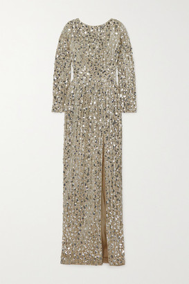 Rasario Open-back Sequined Tulle Gown - Gold
