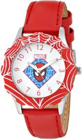Spiderman Marvel Comics Kids' W000316 Marvel Tween Stainless Steel Red Bezel Red Leather Strap Watch