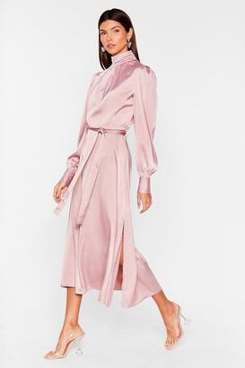 Nasty Gal Womens Satin High Neck Belted Midi Dress - Purple - 6