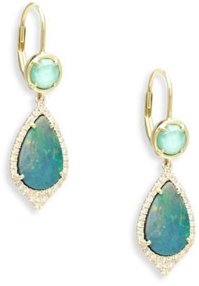 Meira T Diamond, Turquoise, Opal & 14K Yellow Gold Drop Earrings