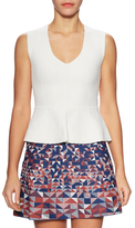 BCBGMAXAZRIA V Neck Peplum Sleeveless Top