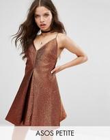 Asos NIGHT Deep Plunge A-line Metallic Mini Dress