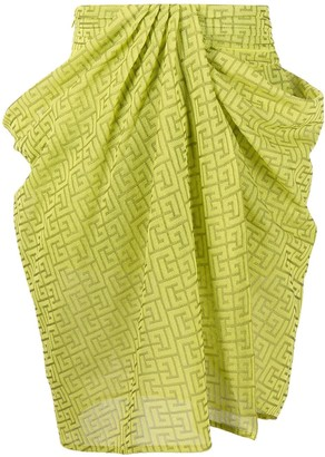 Balmain Draped Printed Skirt
