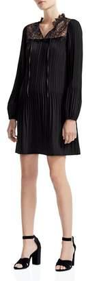 Maje Rockette Pleated Lace-Inset Mini Dress
