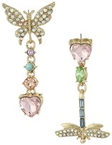 Betsey Johnson Pave Butterfly Dragonfly Non-Matching Drop Earrings Earring