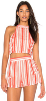 Band of Gypsies Stripe Smocked Crop Top in Coral. - size L (also in M,S)