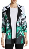Misook Notched-Collar Graphic-Print Knit Jacket, Petite