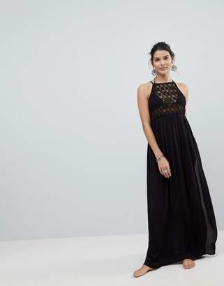 Asos Design DESIGN Premium Crochet Panel Maxi Beach Dress-Black