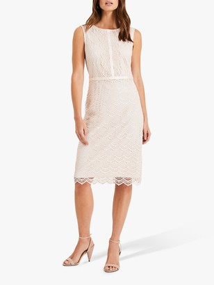Phase Eight Helga Scallop Lace Dress, Shell Pink